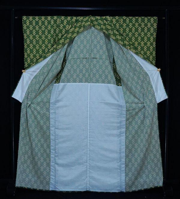 【着物のNext】 0832 L寸 単衣仕立て あられ文様 化繊 ポリ 洗える小紋 緑系 美品_画像2