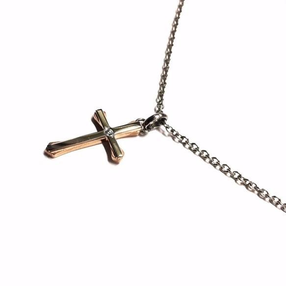 【刻印可能】サージカルステンレス製クロス十字架×czダイヤモンドネックレス/ピンクゴールド×シルバー_画像1