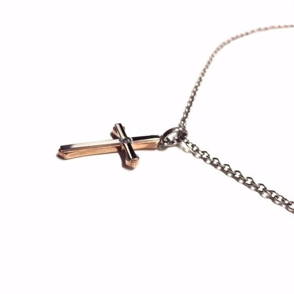 【刻印可能】サージカルステンレス製クロス十字架×czダイヤモンドネックレス/ピンクゴールド×シルバー_画像2