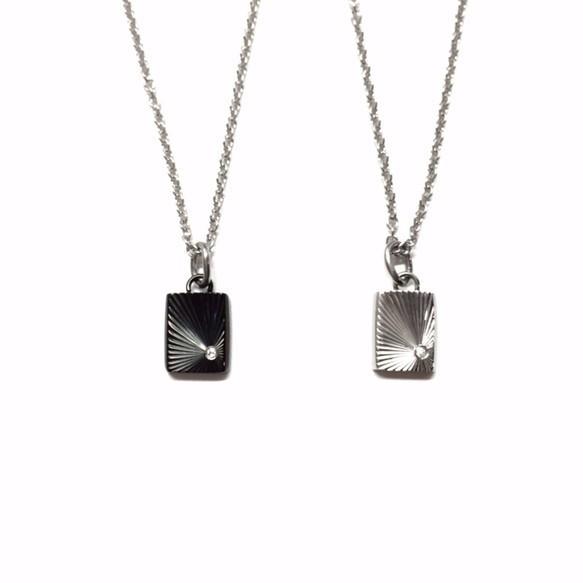 【刻印可能】czダイヤモンドブラック&シルバーカラーシャインカットスクエア型ペアネックレス_画像1