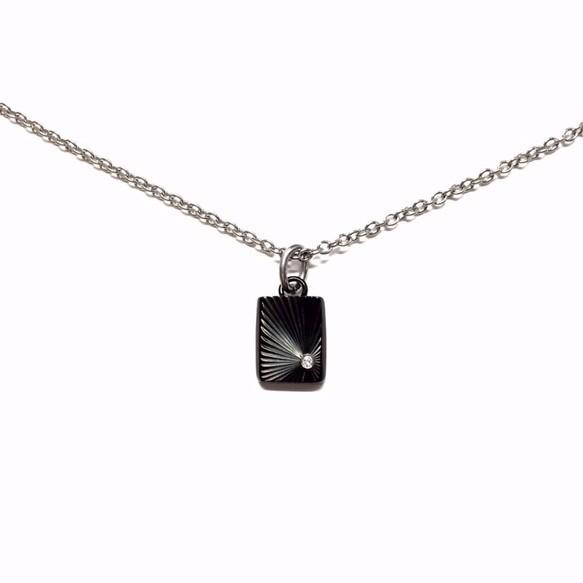 【刻印可能】czダイヤモンドブラック&シルバーカラーシャインカットスクエア型ペアネックレス_画像4