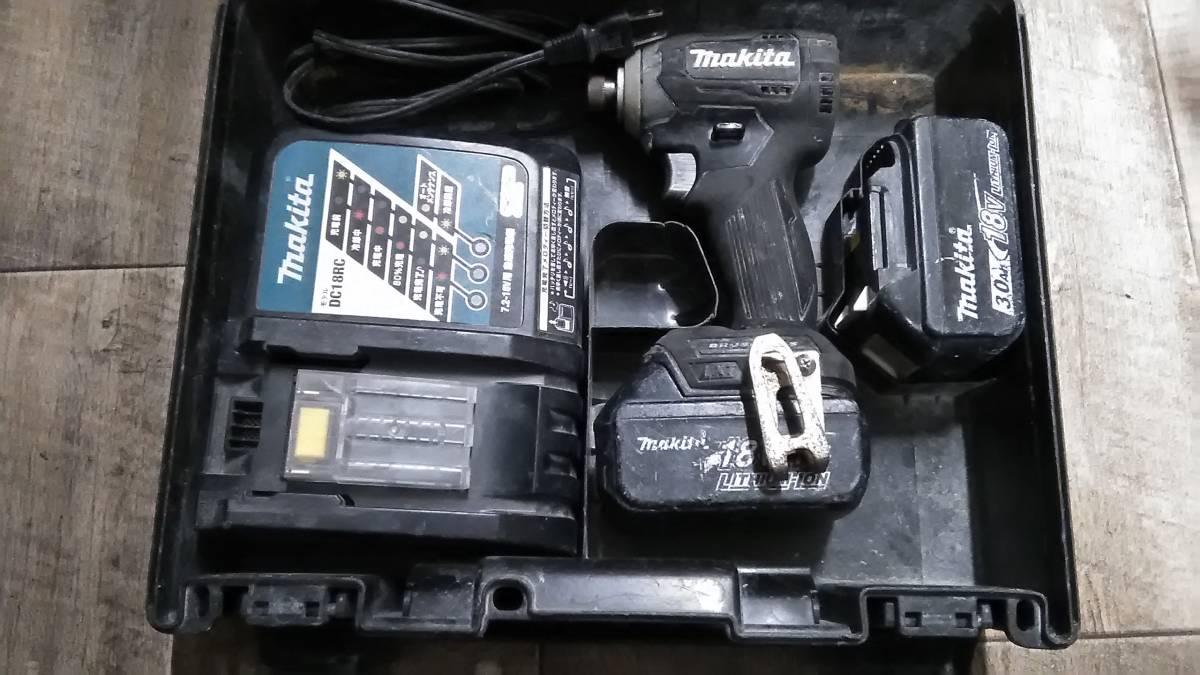 1円スタート!! Makita マキタ 充電式インパクトドライバ 充電器/バッテリー2個付き TD170D