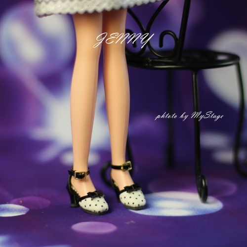 ldz-75-01(白+黒) momoko、ブライス、ジェニー、MISAKI、ピアニーモ用シューズ_画像3