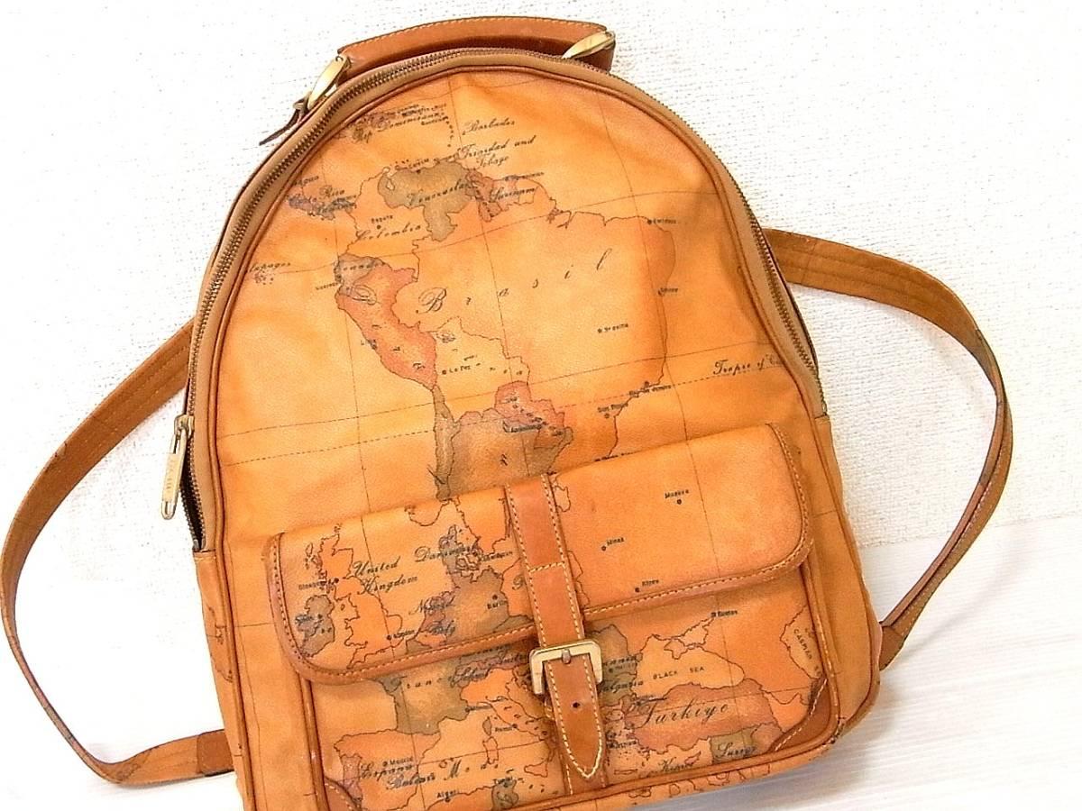 PRIMA CLASSE プリマクラッセ 本革使い レザー PVC リュック デイパック ショルダーバッグ ハンドバッグ 世界地図 日本地図 背負い鞄