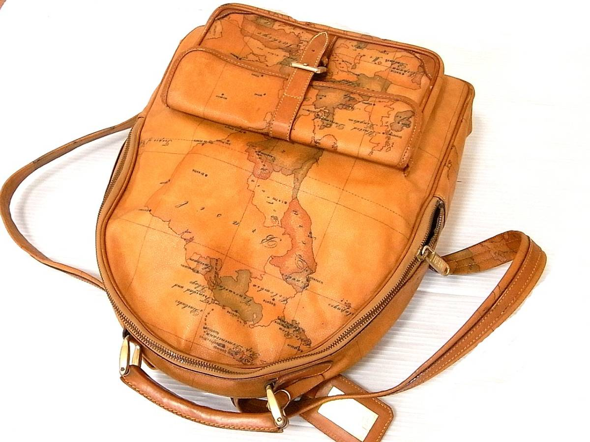 PRIMA CLASSE プリマクラッセ 本革使い レザー PVC リュック デイパック ショルダーバッグ ハンドバッグ 世界地図 日本地図 背負い鞄_画像2