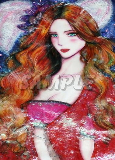 A3美女絵 petal 手描きオリジナルイラストアート絵CG Hand drawn originalart picture CG cute girl beauty_画像1