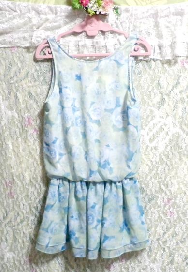 水色花柄ノースリーブミニスカートワンピース Light blue flower pattern sleeveless mini skirt onepiece_画像3