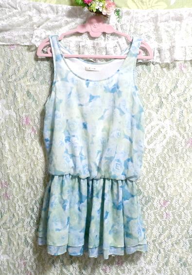 水色花柄ノースリーブミニスカートワンピース Light blue flower pattern sleeveless mini skirt onepiece_画像2