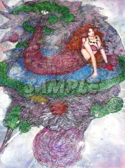 A3美女絵 mermaid 手描きオリジナルイラストアート絵CG Hand drawn originalart picture CG cute girl beauty_画像5