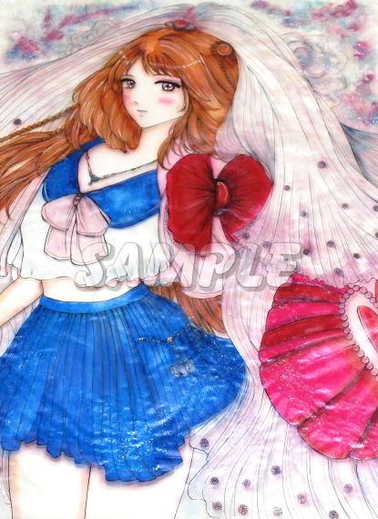 A3美女絵 JKbride 手描きオリジナルイラストアート絵CG Hand drawn originalart picture CG cute girl beauty_画像3