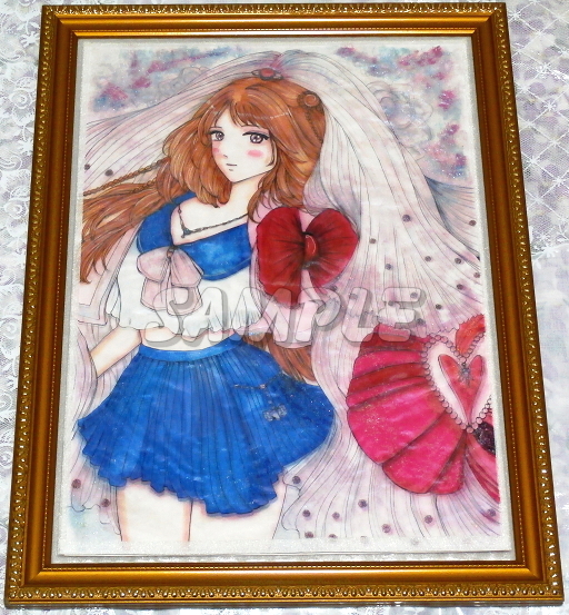 A3美女絵 JKbride 手描きオリジナルイラストアート絵CG Hand drawn originalart picture CG cute girl beauty_画像2