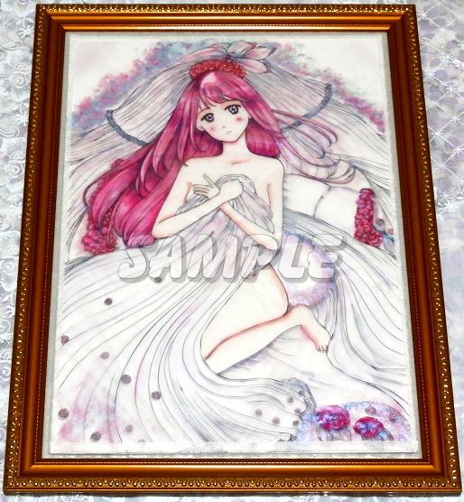 A3美女絵 bride 手描きオリジナルイラストアート絵CG Hand drawn originalart picture CG cute girl beauty_画像3
