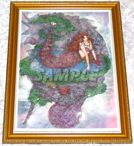 A3美女絵 mermaid 手描きオリジナルイラストアート絵CG Hand drawn originalart picture CG cute girl beauty_画像2