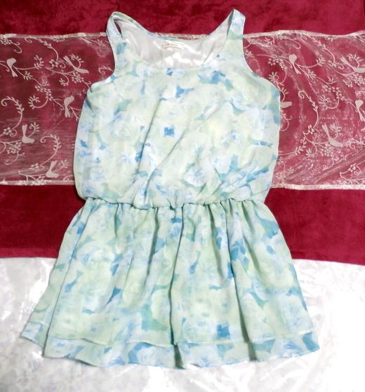 水色花柄ノースリーブミニスカートワンピース Light blue flower pattern sleeveless mini skirt onepiece_画像1