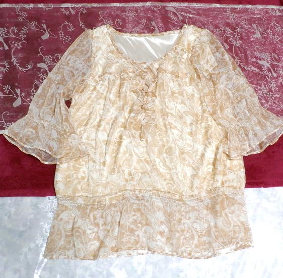 茶白ホワイトエスニック柄シフォンフリルチュニック/トップス Brown white ethnic pattern chiffon frills tunic/tops_画像1