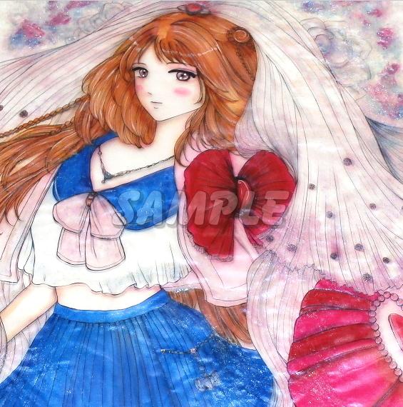 A3美女絵 JKbride 手描きオリジナルイラストアート絵CG Hand drawn originalart picture CG cute girl beauty_画像1