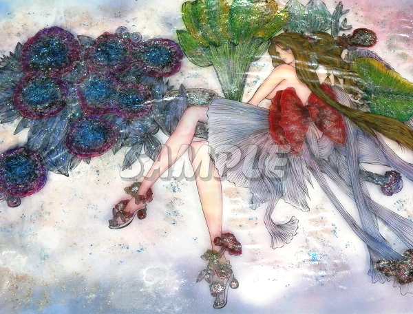 A3美女絵 vegetable 手描きオリジナルイラストアート絵CG Hand drawn originalart picture CG cute girl beauty_画像1