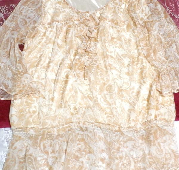 茶白ホワイトエスニック柄シフォンフリルチュニック/トップス Brown white ethnic pattern chiffon frills tunic/tops_画像2
