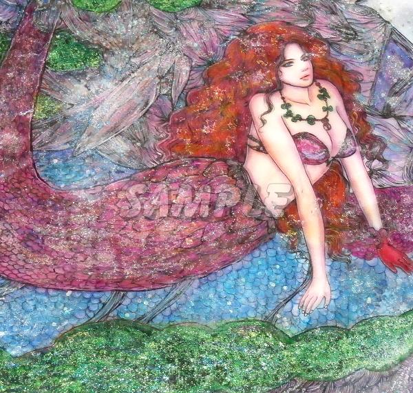 A3美女絵 mermaid 手描きオリジナルイラストアート絵CG Hand drawn originalart picture CG cute girl beauty_画像3