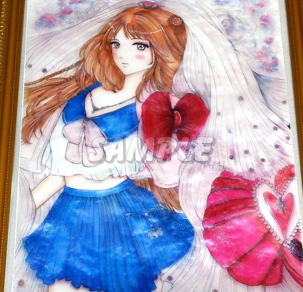 A3美女絵 JKbride 手描きオリジナルイラストアート絵CG Hand drawn originalart picture CG cute girl beauty_画像5