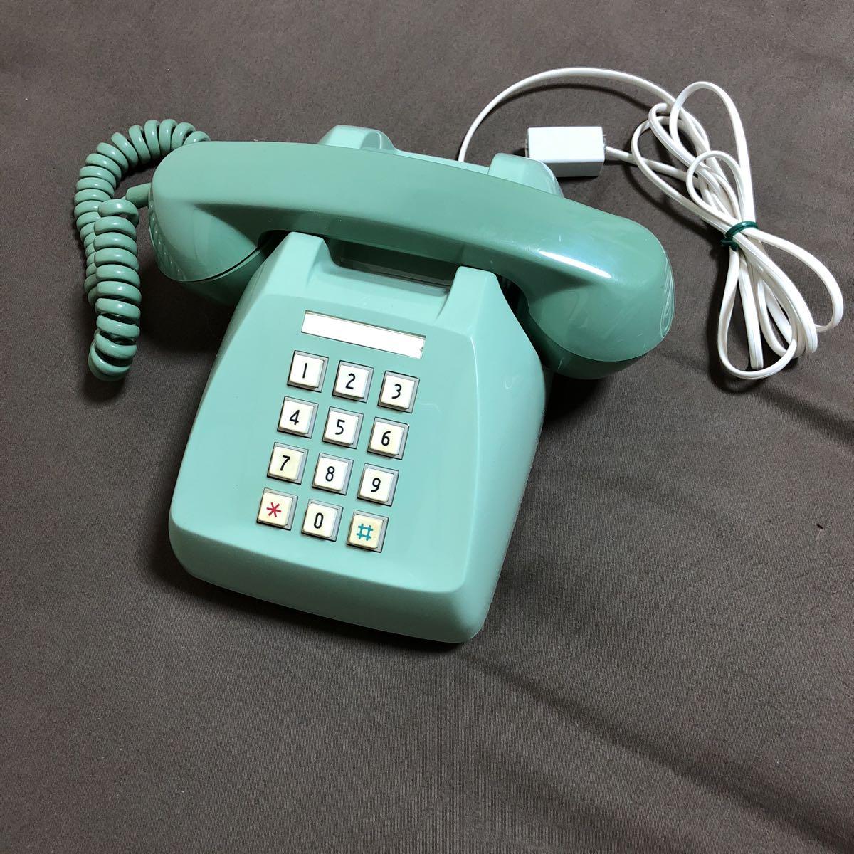 レトロ アンティーク プッシュ式電話機 600-P 日本電信電話公社 プッシュホン グリーン 緑 置物 飾り インテリア