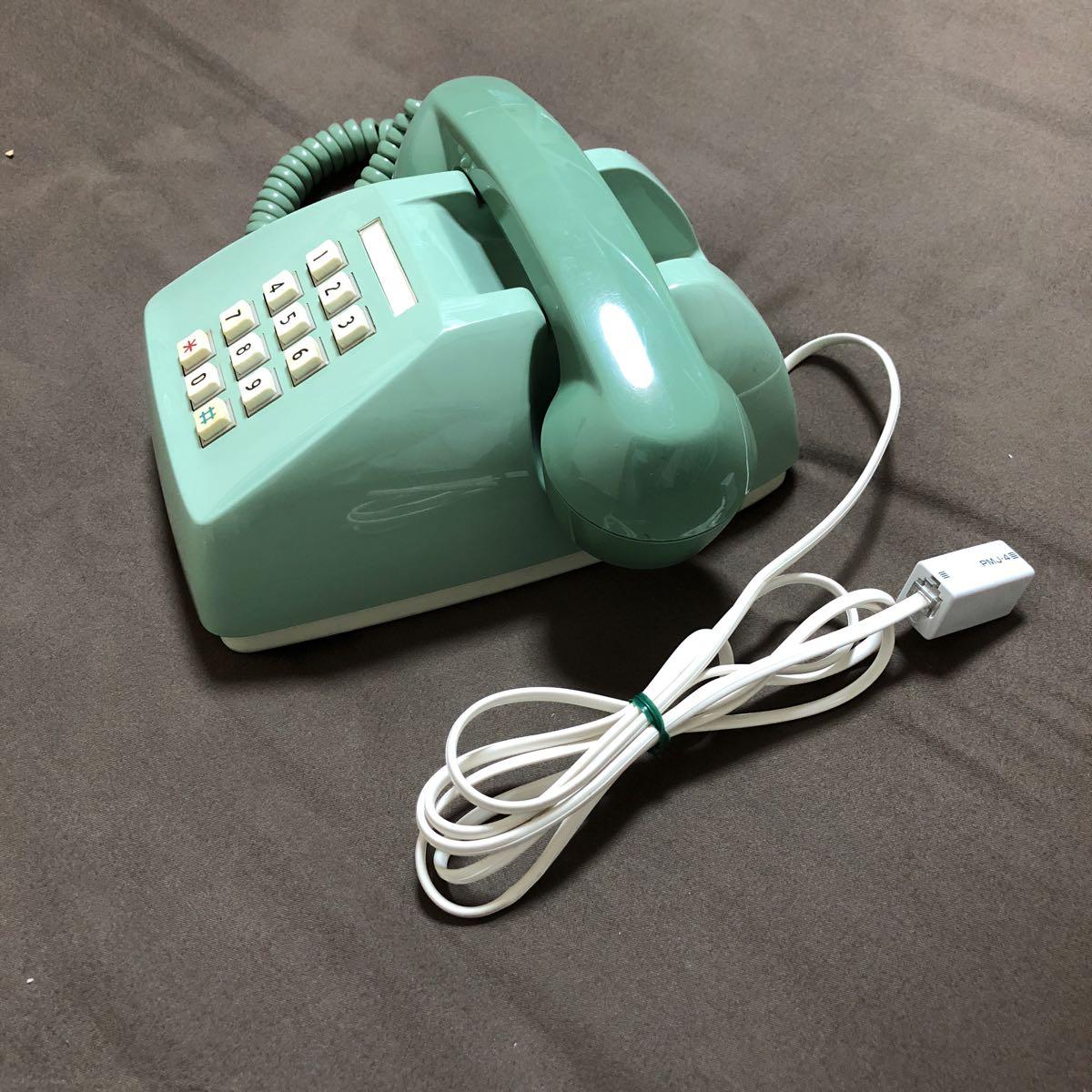 レトロ アンティーク プッシュ式電話機 600-P 日本電信電話公社 プッシュホン グリーン 緑 置物 飾り インテリア_画像6