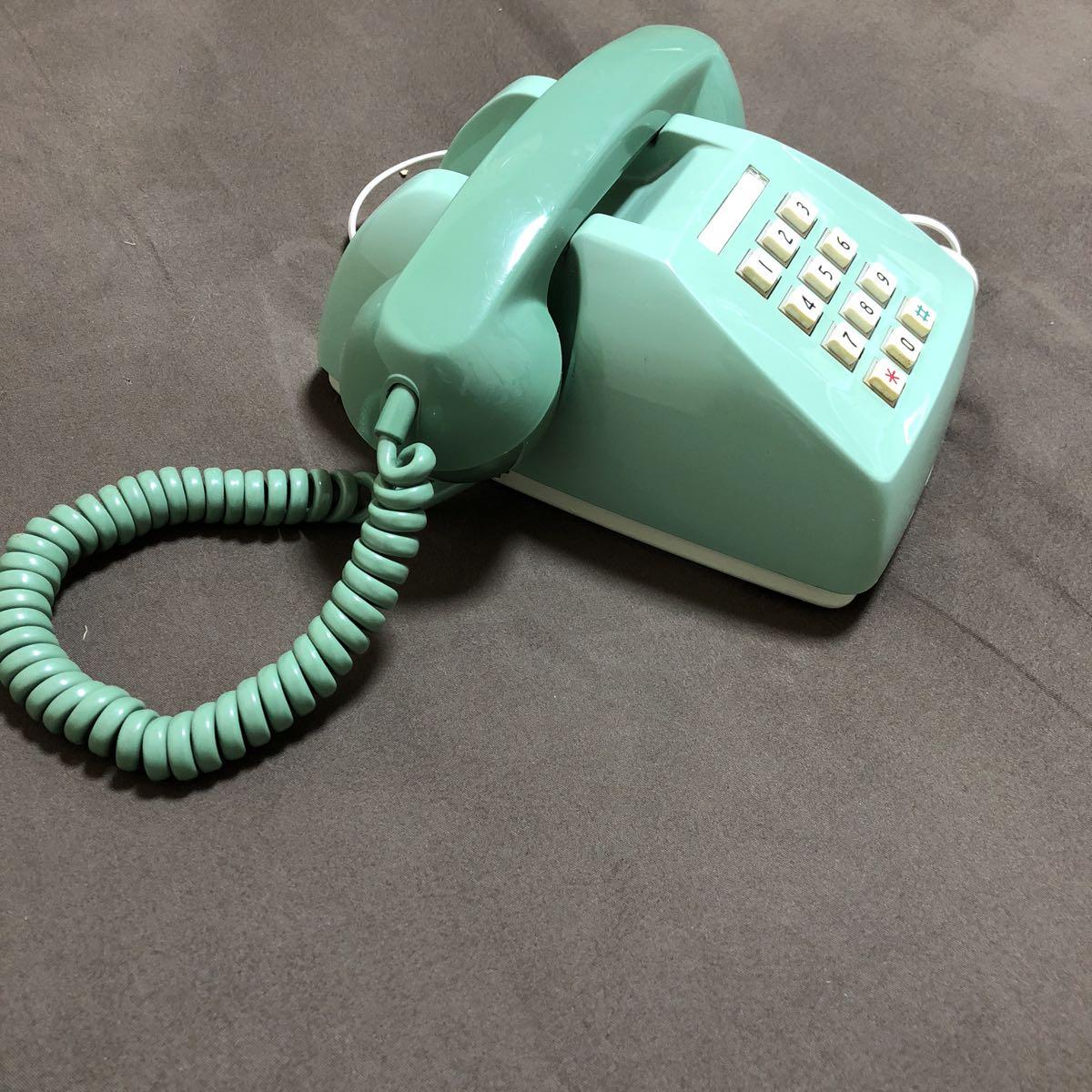 レトロ アンティーク プッシュ式電話機 600-P 日本電信電話公社 プッシュホン グリーン 緑 置物 飾り インテリア_画像5