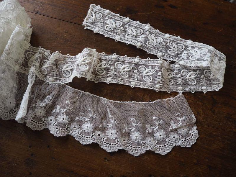 フランス アンティーク美しい白の刺繍 幅色2種チュールレース花カットワーク ドール ボネ ドレス リメイク ハンドメイド ボタニカル パネル_画像5