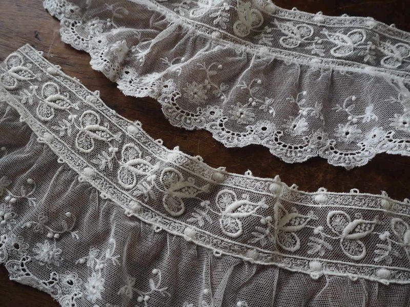 フランス アンティーク美しい白の刺繍 幅色2種チュールレース花カットワーク ドール ボネ ドレス リメイク ハンドメイド ボタニカル パネル_画像2