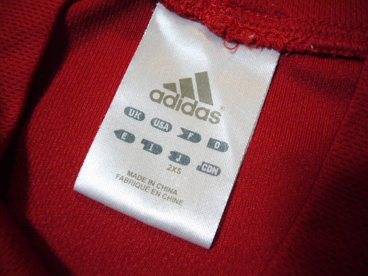 アディダス ベースボール半袖シャツ赤2XS_画像3