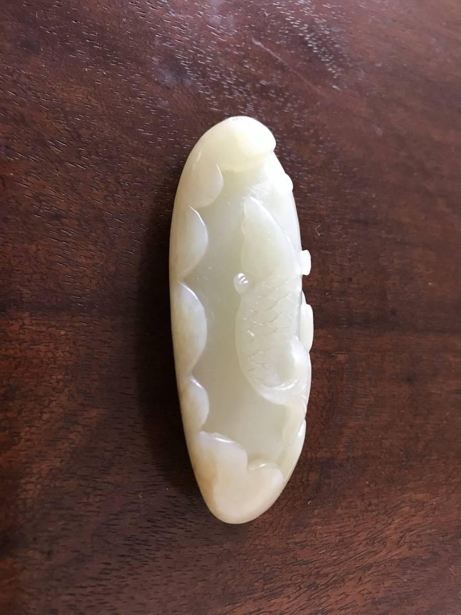 中国美術 時代 白玉 彫刻 鯉図 / 装飾品 青白玉 黄玉 玉器 玉石 翡翠 和田玉 古玩 唐物 骨董 古美術 清 明 天然石