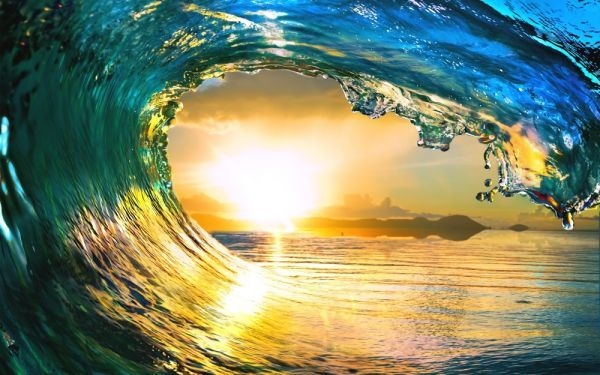 Wave Sunset Wave Tube Hawaii Day Surfing Sea New