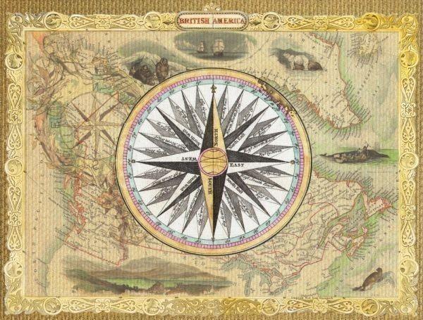 BRITISH AMERICA 地図 コラージュ コンパス 航海 ヴィンテージ 絵画風 壁紙ポスター 772×585mm(はがせるシール式)014S1 印刷物&ポスター&その他