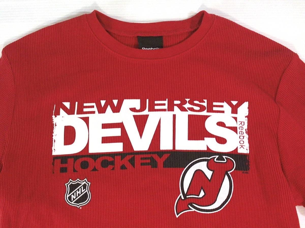 ☆美品★スイス製リーボック★Reebok★ニュージャージー デビルズ【NHL New Jersey Devils】ワッフル生地 サーマル長袖Tシャツ 赤 L/G/G_画像2