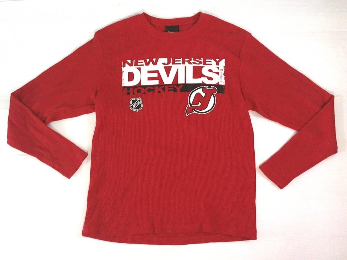 ☆美品★スイス製リーボック★Reebok★ニュージャージー デビルズ【NHL New Jersey Devils】ワッフル生地 サーマル長袖Tシャツ 赤 L/G/G_画像1