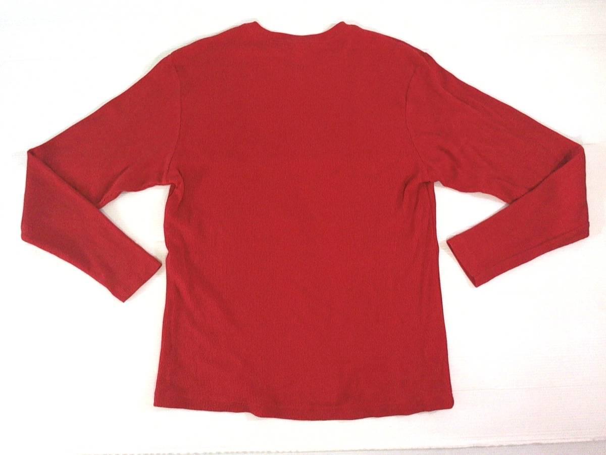 ☆美品★スイス製リーボック★Reebok★ニュージャージー デビルズ【NHL New Jersey Devils】ワッフル生地 サーマル長袖Tシャツ 赤 L/G/G_画像7