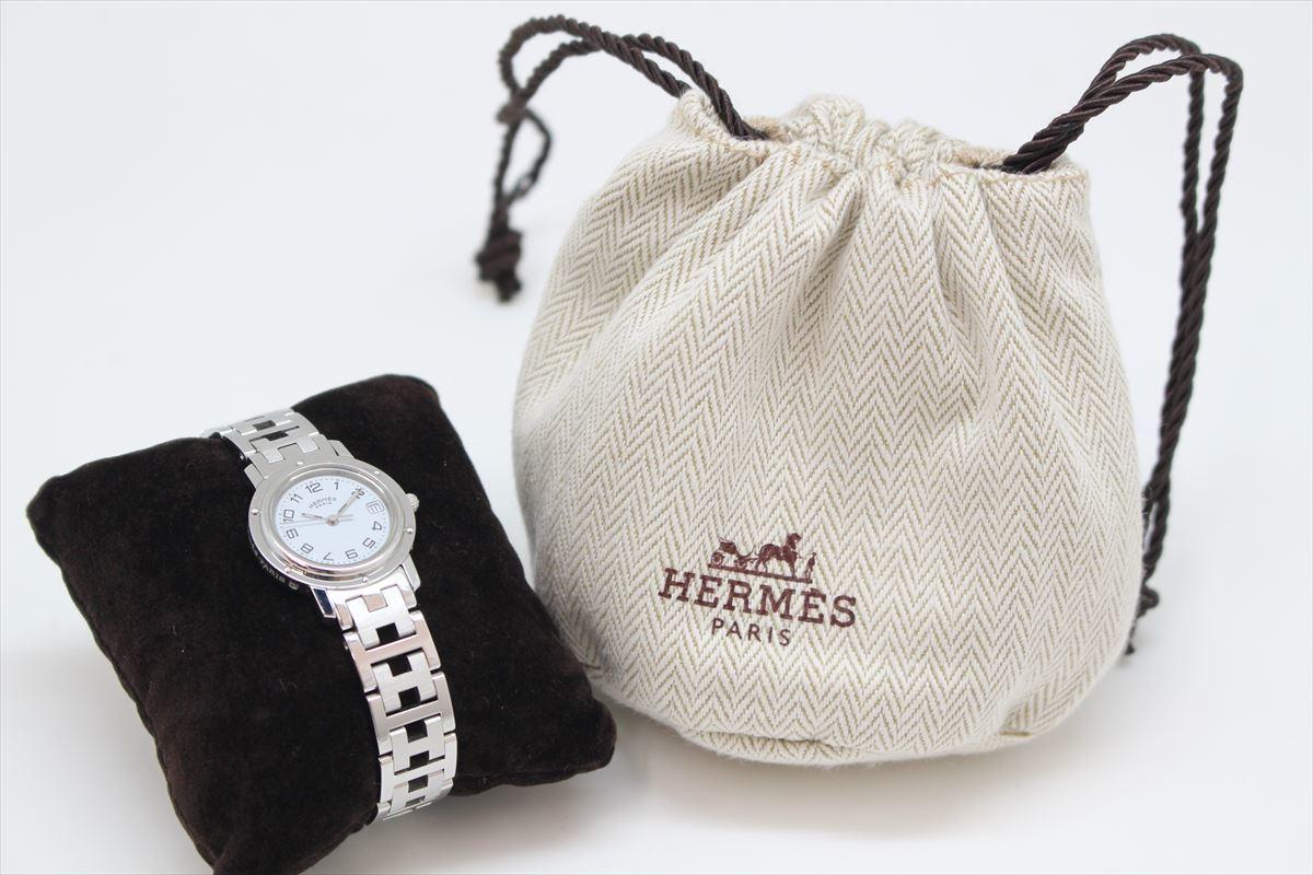 ★1円スタート 稼働品 HERMES エルメス CL4.210 クリッパー レディース 時計 クオーツ デイト 白文字盤 A18-1804