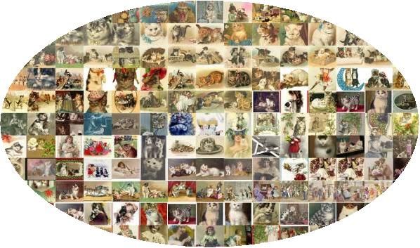 ビンテージ子猫ねこネコ/絵画像写真540素材大量動物イラスト福袋武井トラブル英語マンションカーショップ意味インテリアアクセサリーアンテ_画像1