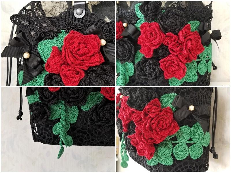 レース手編み 赤&黒バラ・ミシン刺繍ちょうちょ・本真珠のレースカゴ巾着バッグ・本革持ち手_画像4