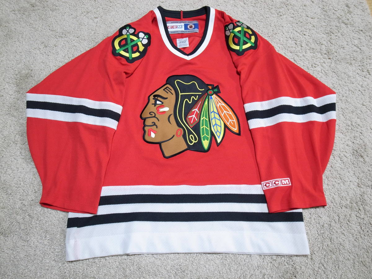 cb04c890b superior article NHL CCM Chicago black Hawk s Atka mackerel - shirt jersey  uniform size M red
