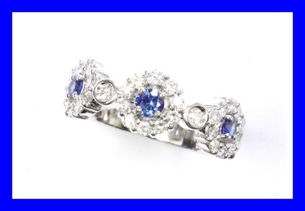 ●本物新品同様 プラチナリング Pt900 指輪 ダイヤ サファイヤ デザインリング RAI7_画像1