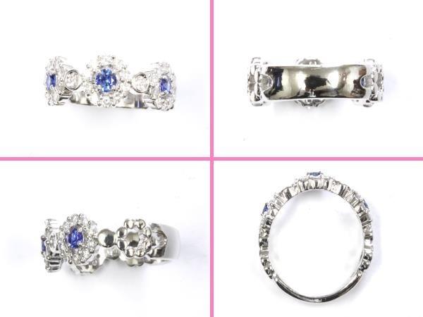 ●本物新品同様 プラチナリング Pt900 指輪 ダイヤ サファイヤ デザインリング RAI7_画像3