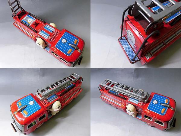 当時物 昭和レトロ ヨネザワ おばQ オバケのQ太郎 ブリキ 消防車 車 はしご フリクション ビンテージ 1960年代_画像10