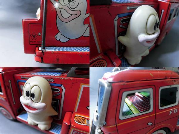 当時物 昭和レトロ ヨネザワ おばQ オバケのQ太郎 ブリキ 消防車 車 はしご フリクション ビンテージ 1960年代_画像8