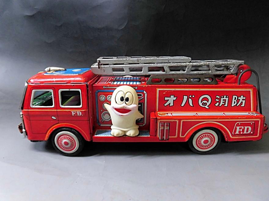 当時物 昭和レトロ ヨネザワ おばQ オバケのQ太郎 ブリキ 消防車 車 はしご フリクション ビンテージ 1960年代_画像2