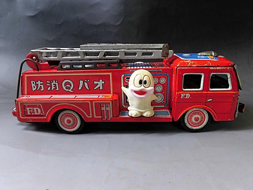 当時物 昭和レトロ ヨネザワ おばQ オバケのQ太郎 ブリキ 消防車 車 はしご フリクション ビンテージ 1960年代_画像4