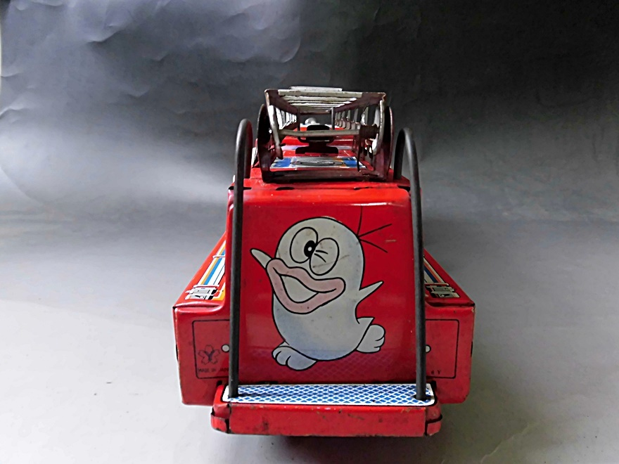 当時物 昭和レトロ ヨネザワ おばQ オバケのQ太郎 ブリキ 消防車 車 はしご フリクション ビンテージ 1960年代_画像5