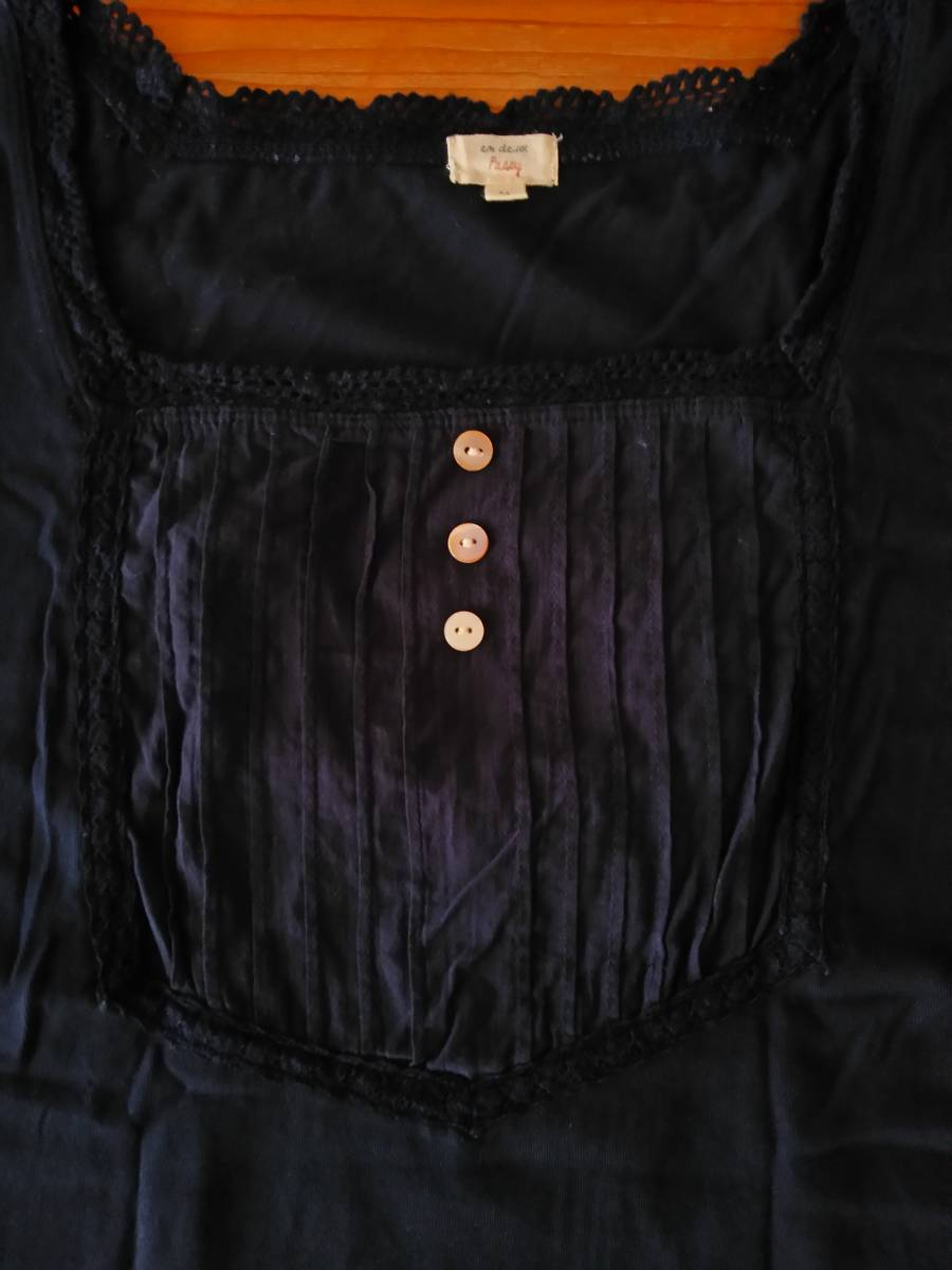 en deux Passy 半袖 カットソー Tシャツ M 紺 綿100% /ク