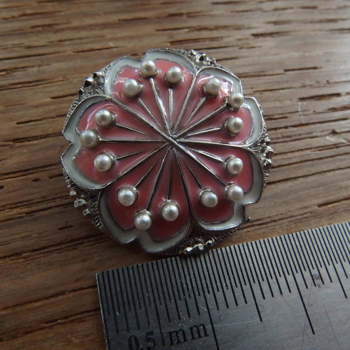 ビジューボタン ピンク 2.2cm メタルxエマイユⅹパール 1個_画像1