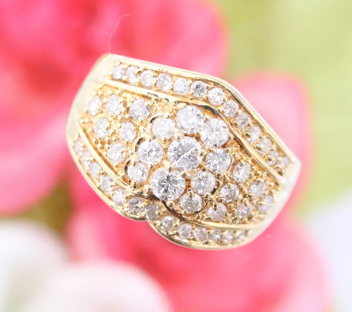 【1円スタート】 ♪★豪華な輝き★天然ダイヤモンド1.03ct K18リング♪ Jewel de Coco_画像8